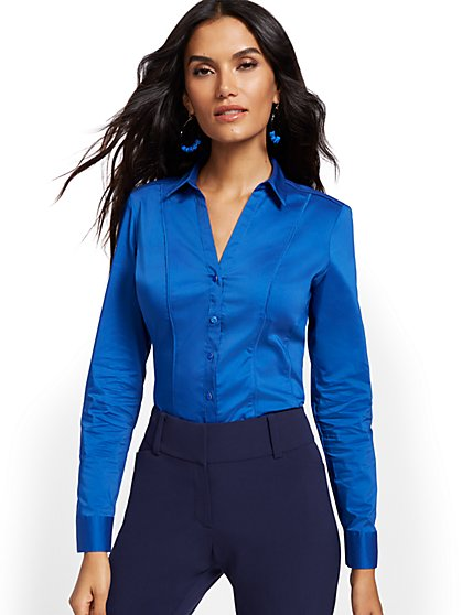 Petite Piped Madison Stretch Shirt - Secret Snap - 7th Avenue - New York & Company