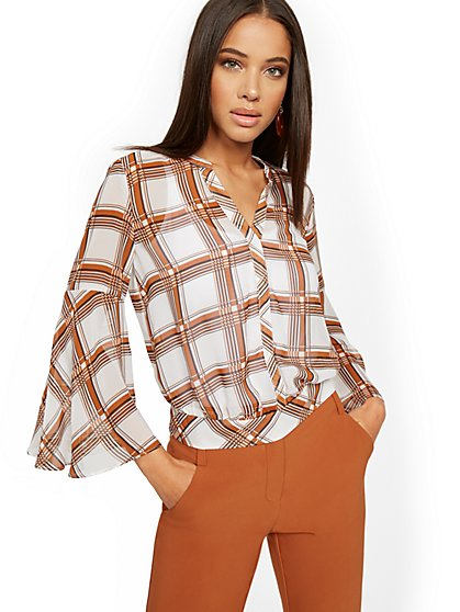 Petite Plaid Bell-Sleeve Blouse - 7th Avenue - New York & Company