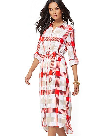 Petite Plaid Belted Shirtdress - New York & Company