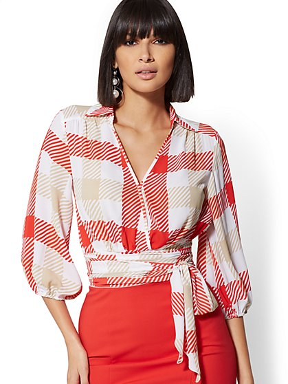 Petite Plaid Belted Wrap Blouse - 7th Avenue - New York & Company
