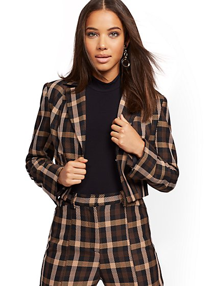 Petite Plaid Crop Blazer - 7th Avenue - New York & Company