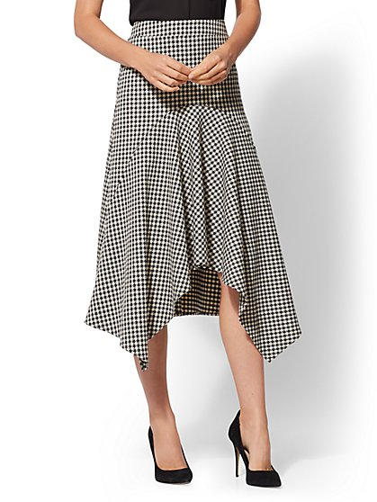Petite Plaid Hi-Lo Full Skirt - New York & Company