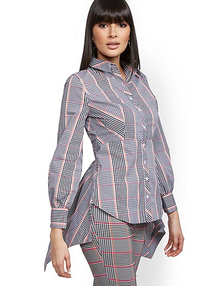 Petite Plaid High-Low Shirt - 7th Avenue - New York & Company
