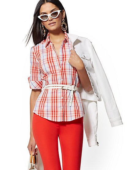 Petite Plaid Madison Stretch Shirt - 7th Avenue - New York & Company