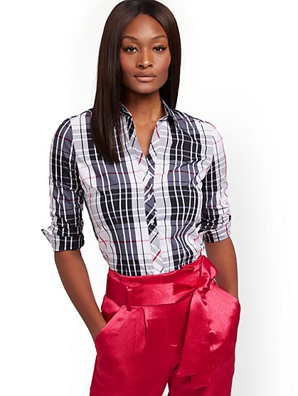 Petite Plaid Madison Stretch Shirt - Secret Snap - 7th Avenue - New York & Company