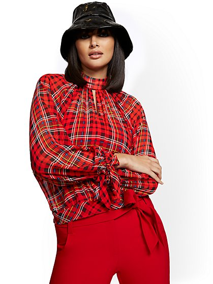 Petite Plaid Mock-Neck Tie-Sleeve Blouse - 7th Avenue - New York & Company