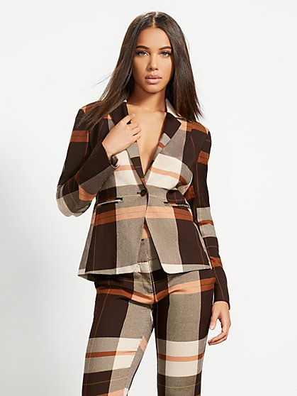 Petite Plaid One-Button Jacket - 7th Avenue - New York & Company