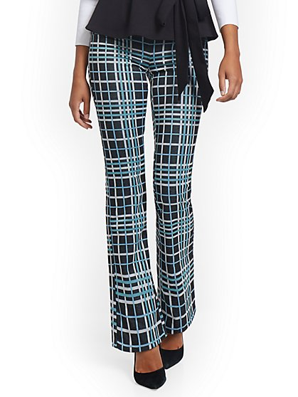 Petite Plaid Pull-On Bootcut Ponte Knit Pant - Superflex - New York & Company