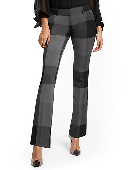 Petite Plaid Straight-Leg Pant - Signature - 7th Avenue - New York & Company