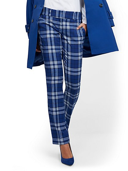 Petite Plaid Straight-Leg Pant - Signature Fit - 7th Avenue - New York & Company