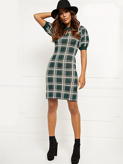 Petite Plaid Sweater Shift Dress - New York & Company