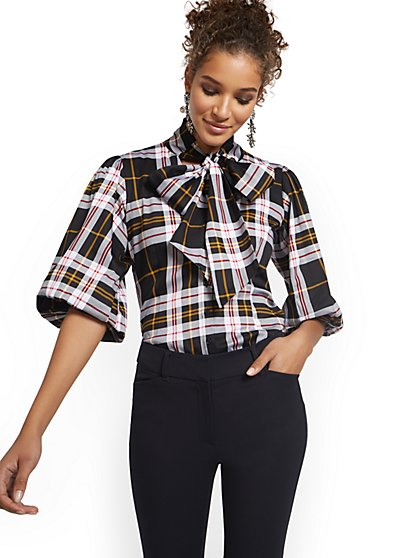 Petite Plaid Tie-Front Poplin Shirt - New York & Company