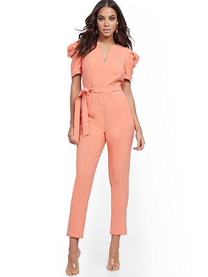 Petite Pleated Puff-Sleeve Jumpsuit - New York & Company