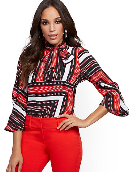 Petite Pleated-Sleeve Bow Blouse - 7th Avenue - New York & Company