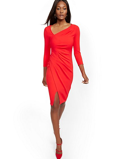 Petite Pleated V-Neck Sheath Dress - New York & Company