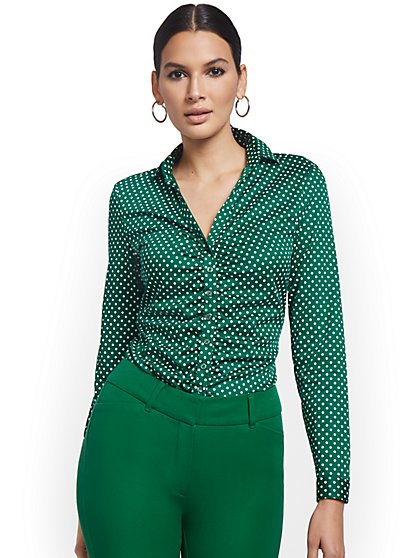 Petite Polka Dot-Print Ruched Madison Shirt - 7th Avenue - New York & Company