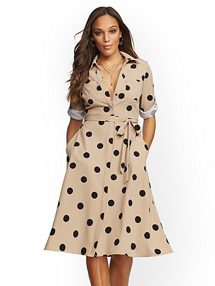 Petite Polka-Dot Print Shirtdress - New York & Company