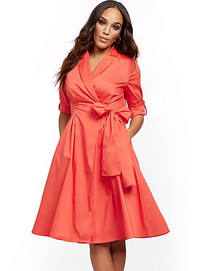 Petite Poplin Belted Midi Shirtdress - New York & Company