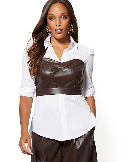 Petite Poplin/Faux Leather Top - New York & Company
