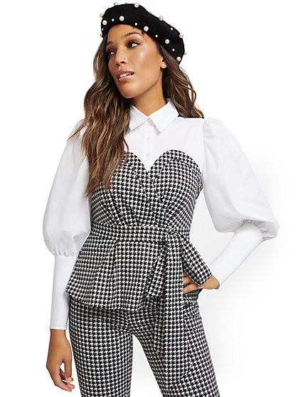 Petite Poplin Houndstooth Twofer Top - New York & Company