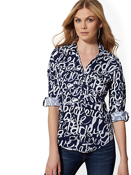 Petite Popover Madison Stretch Shirt - Graffiti Print - 7th Avenue - New York & Company