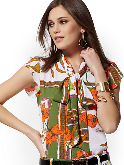 Petite Print Tulip-Sleeve Bow Blouse - 7th Avenue - New York & Company
