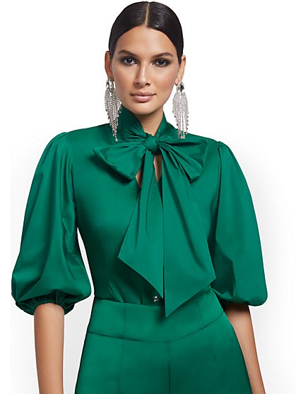 Petite Puff-Sleeve Drama Bow Poplin Shirt - New York & Company
