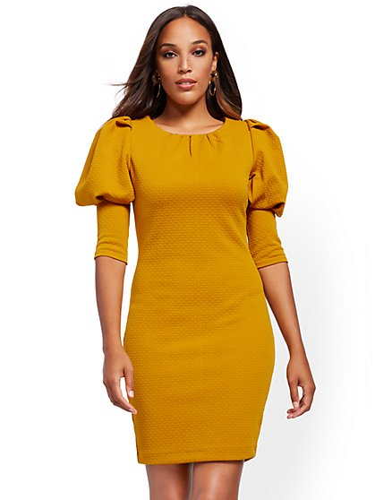 Petite Puff-Sleeve Sheath Dress - New York & Company