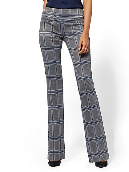 Petite Pull-On Bootcut Pant - Signature Fit - Plaid - Ponte - 7th Avenue - New York & Company