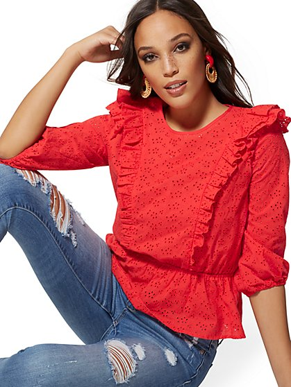 Petite Red Eyelet Ruffled Blouse - Lily & Cali - New York & Company