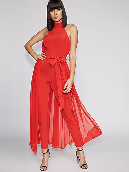 Petite Red Halter Jumpsuit - Gabrielle Union Collection - New York & Company