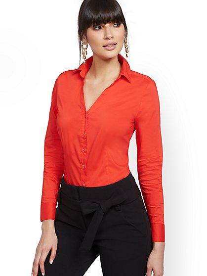 Petite Red Madison Stretch Shirt - Secret Snap -7th Avenue - New York & Company