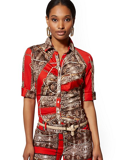 Petite Red Mixed-Print Madison Stretch Shirt - New York & Company