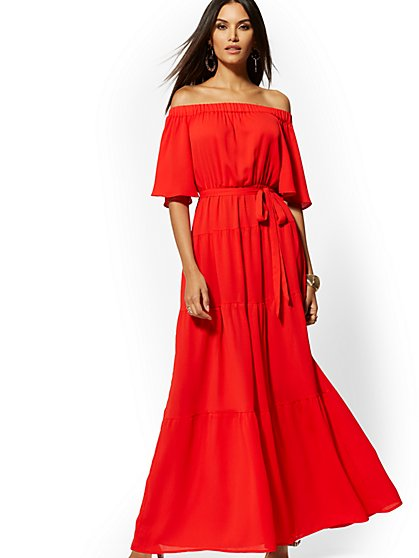 Petite Red Off-The-Shoulder Maxi Dress - New York & Company
