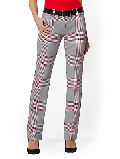 Petite Red Plaid Straight Leg Pant - Signature - 7th Avenue - New York & Company