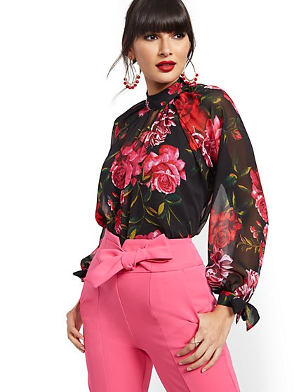 Petite Rose-Print Chiffon Blouse - 7th Avenue - New York & Company