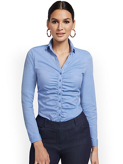 Petite Ruched Madison Shirt - 7th Avenue - New York & Company
