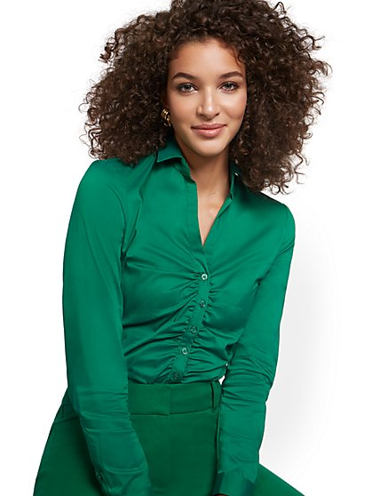 Petite Ruched Madison Stretch Shirt - 7th Avenue - New York & Company