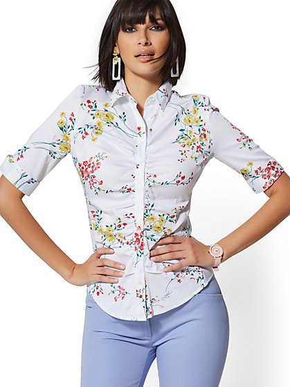 Petite Ruched Madison Stretch Shirt - Floral - New York & Company
