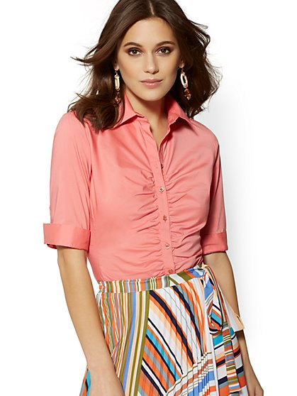 Petite Ruched Madison Stretch Shirt - New York & Company