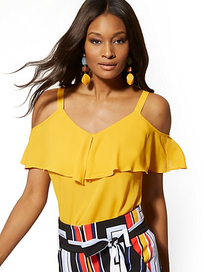 Petite Ruffle Cold-Shoulder Top - New York & Company