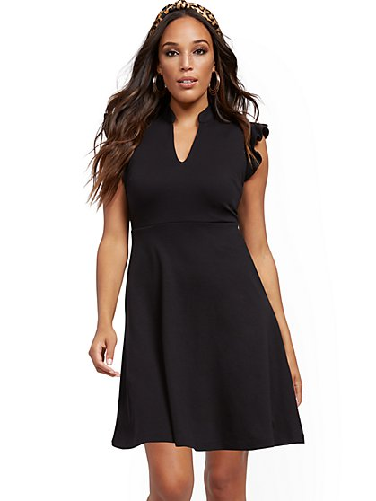 Petite Ruffled Cotton Fit and Flare Dress - New York & Company