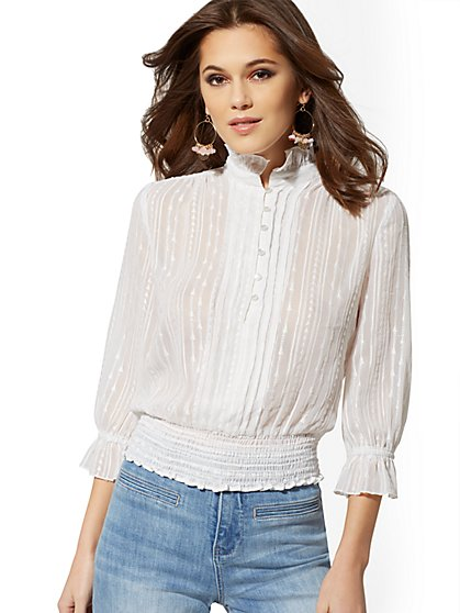 Petite Ruffled Embroidered Blouse - New York & Company