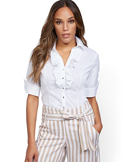 Petite Ruffled Madison Stretch Shirt - 7th Avenue - New York & Company