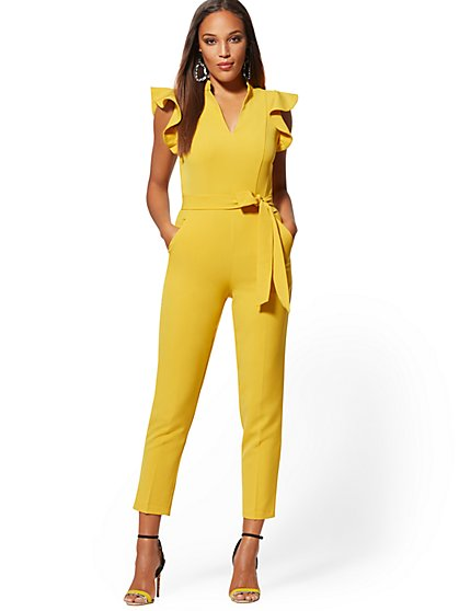 Petite Ruffled-Shoulder Madie Jumpsuit - 7th Avenue - New York & Company
