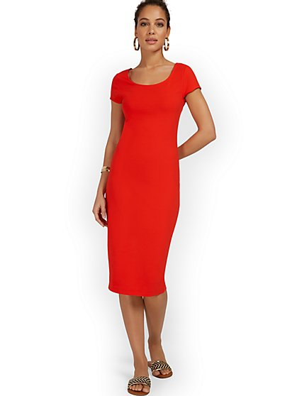 Petite Scoopneck Cap-Sleeve Midi Dress - Everyday Collection - New York & Company