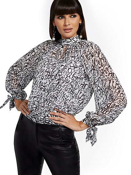 Petite Script-Print Tie-Sleeve Blouse - 7th Avenue - New York & Company