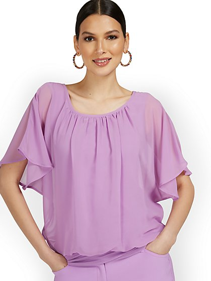 Petite Semi-Sheer Flutter Dolman-Sleeve Top - New York & Company