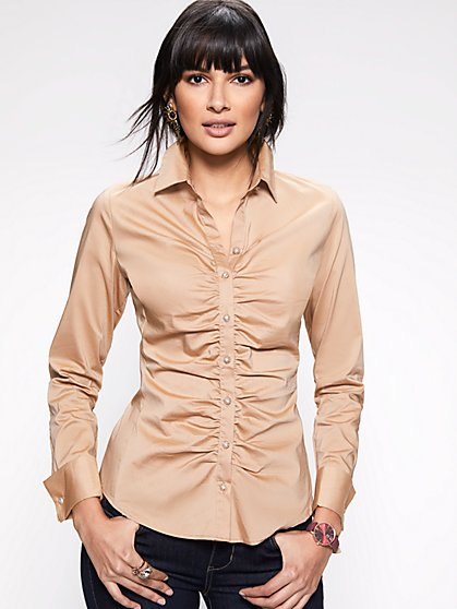 Petite Shirred Madison Stretch Shirt - 7th Avenue - New York & Company