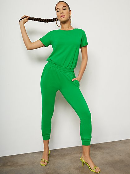 Petite Short-Sleeve Jogger Jumpsuit - New York & Company